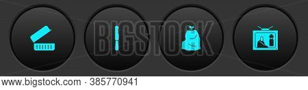 Set Lunch Box, Disposable Plastic Knife, Garbage Bag And Stop Pollution Icon. Vector