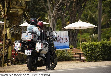 Travelers Thai People Couple Lover Riding Big Bike Motorcycle On Road Near Tha Pai Bridge Go To Trav