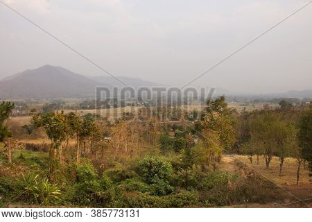 View Landscape And Cityscape Of Pai City With Sunrise In Morning Time While Pm 2.5 Dust Situation At