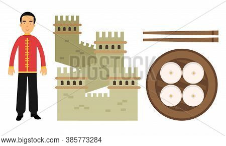 China Country Attributes With Man Dressed In National Clothing And Great Wall Of China Vector Set
