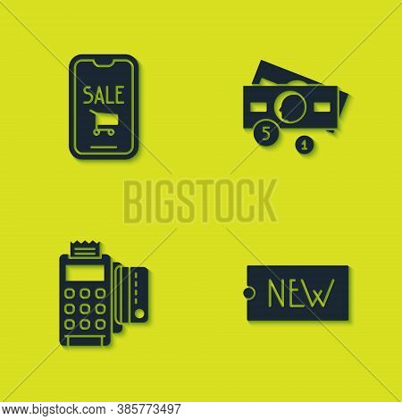 Set Mobile Phone And Shopping Cart, Price Tag With Text New, Pos Terminal Credit Card And Stacks Pap
