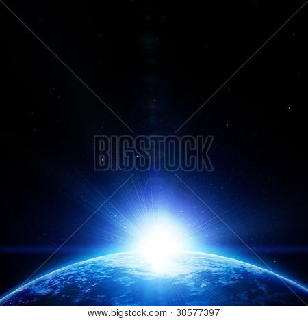 Blue planet earth in outer space (image is completely drawn)