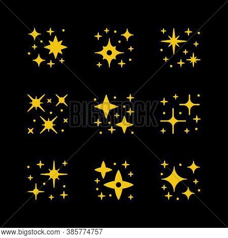 Set Yellow Icons Of Sparkling And Twinkling Isolated On Black. Vector Illustration