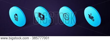 Set Isometric Shopping Basket And Dollar, Discount Percent Tag, Monitor With Shopping And Pos Termin