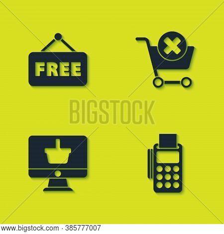 Set Price Tag With Text Free, Pos Terminal Credit Card, Monitor Shopping Basket And Remove Cart Icon