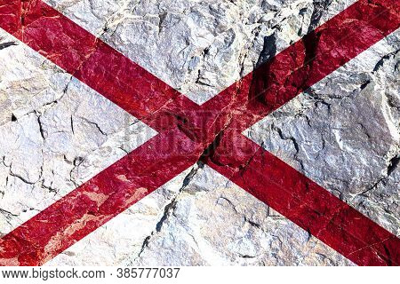 National Flag Of Country Of United States Of Alabama Is White With Red Intersecting Stripes On Indep