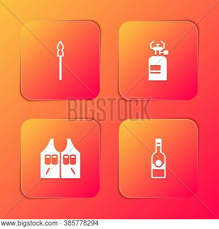 Set Medieval Spear, Camping Gas Stove, Hunting Jacket And Bottle Of Vodka Icon. Vector