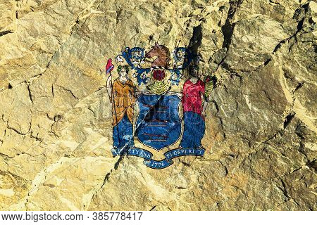 The National Flag Of The United States Of The State Of New Jersey On A Yellow Background Graffiti On