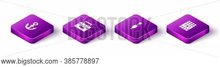Set Isometric Anchor, Case Container For Wobbler, Fishing Spoon And Detonate Dynamite Bomb Stick Ico