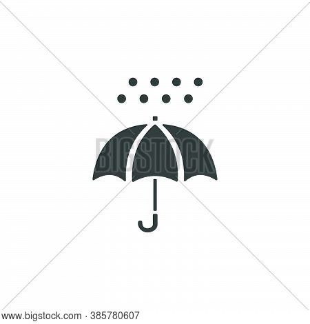 Umbrella And Hail. Isolated Icon. Weather Glyph Vector Illustration