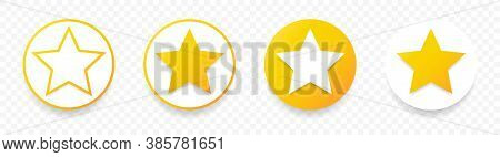 Gold Stars Quality Rating Icon. Five Yellow Star Product Quality Rating. Golden Star Vector Icons. S