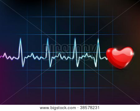 Cardiogram with red heart shape on blue background. EPS 10.