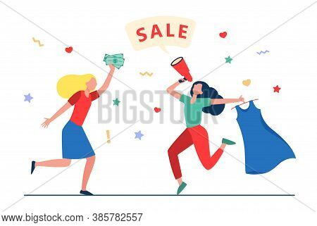 Girls Celebrating Sale In Fashion Store. Women Dancing, Announcing Sale, Buying Clothes Flat Vector