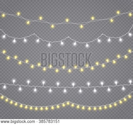 Christmas Lights, Isolated On A Transparent Background. Glowing Lights For Christmas Holiday Cards,