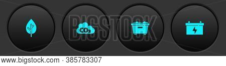 Set Tree, Co2 Emissions In Cloud, Trash Can And Car Battery Icon. Vector