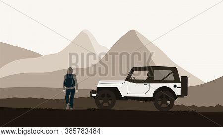 Suv Car And A Man With A Backpack On The Background Of An Abstract Mountain Landscape. Poster Concep