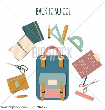 Back To School Concept With Different Size Diary,open,closed Exercise Book.what Lies In Briefcase.st