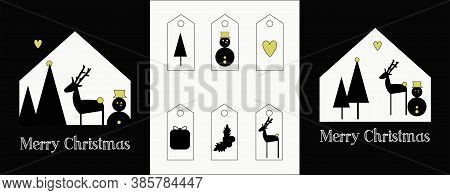 illustration of a set of two Chrsitmas cards and tags for the gifts. Black and white graphic with reindeers, snowman, christmas tree , gifts and holly christmas.