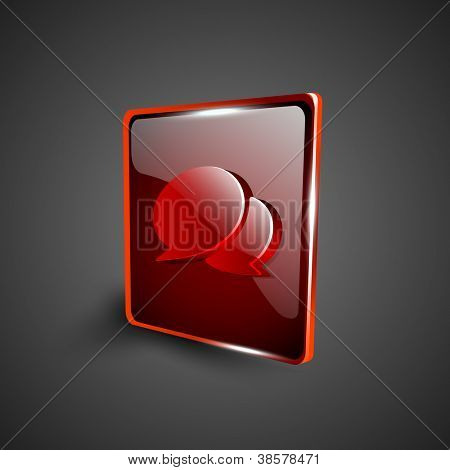 Glossy red 3D web 2.0 messenger symbol icon set. EPS 10.