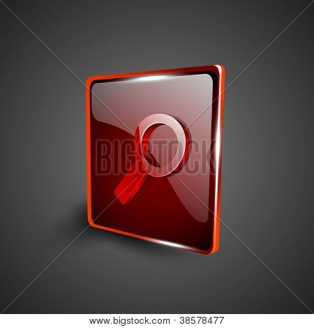 Glossy red 3D web 2.0 search symbol icon set. EPS 10.
