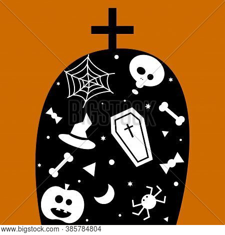 Vector Illustration With A Tombstone And A Ghost Painted On It, A Hat, A Pumpkin, A Spider.