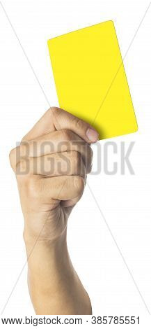Hand Of Soccer Referee Showing Yellow Card Isolated On White Background