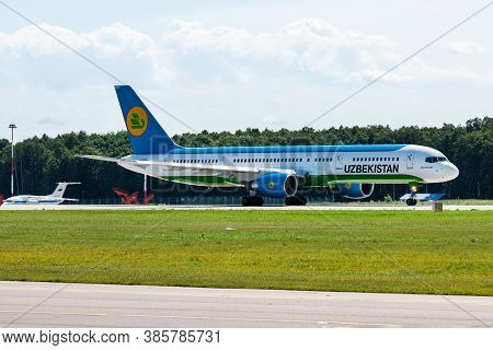 July 2, 2019, Moscow, Russia. Airplane Boeing Boeing 757-200 Uzbekistan Airways At Vnukovo Airport I