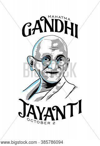 Mahatma Gandhi Line Drawing Vector With Gandhi Jayanti Text White Background