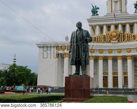 30 Of August 2020 - Moscow, Russia: Lenin Monument And Main Pavilion At All-russian Exhibition Cente
