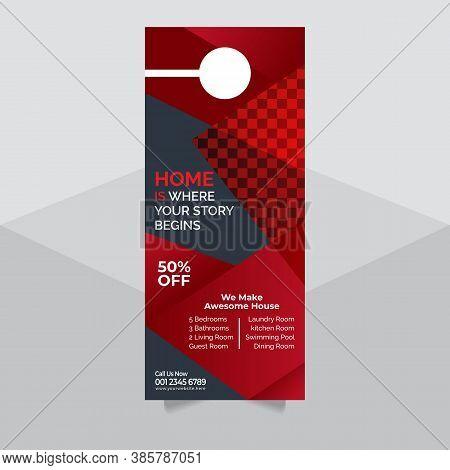 : Door Hanger Mock Up And Door Hanger Template, Real Estate Door Hanger And Modern Flyer Concept, Co