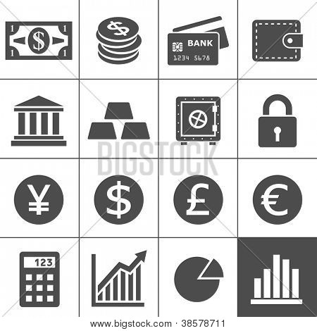 Finance Icons. Each icon is a single object (compound path). Simplus series