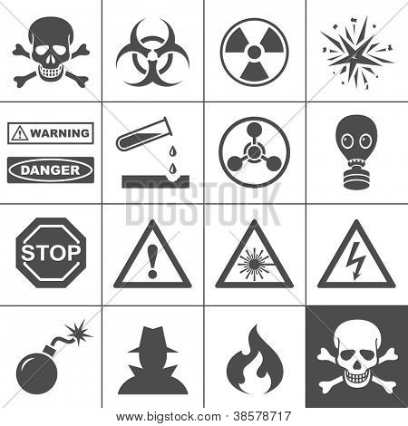 Danger and warning icons. Simplus series. Each icon is a single object (compound path)