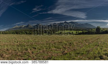 Panorama View For Hills In Vysoke Tatry Mountains In Slovakia In Summer Morning