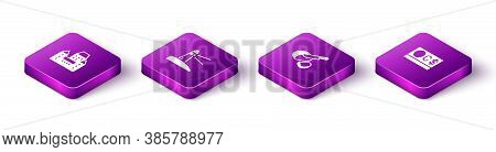 Set Isometric Chateau Frontenac Hotel, Lighthouse, Peameal Bacon And Canadian Dollar Icon. Vector