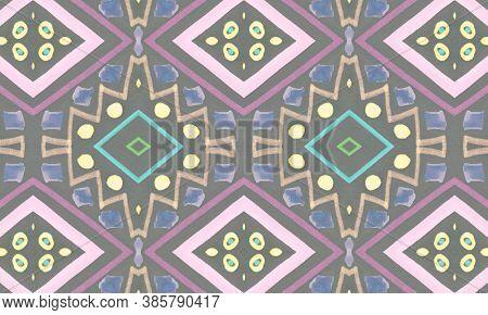 Colorful Tribal Ornament. Gray American Ethnic Wallpaper. Hand Drawn Batik Texture. Geometric Bohemi