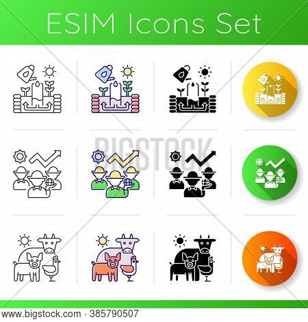 Agribusiness Icons Set. Keyhole Garden Structure. Irrigation System. Animal Husbandry. Agricultural