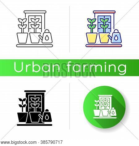 Balcony Garden Icon. Watering Plants On Windowsill. Cultivate Vegetables Indoor. Home Horticulture.