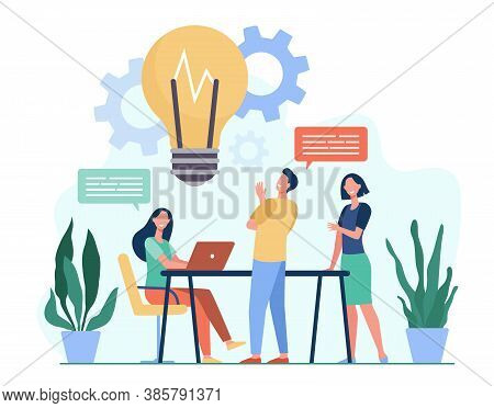 Colleagues Sharing Thoughts And Ideas Flat Vector Illustration. Cartoon Employees Thinking About Com