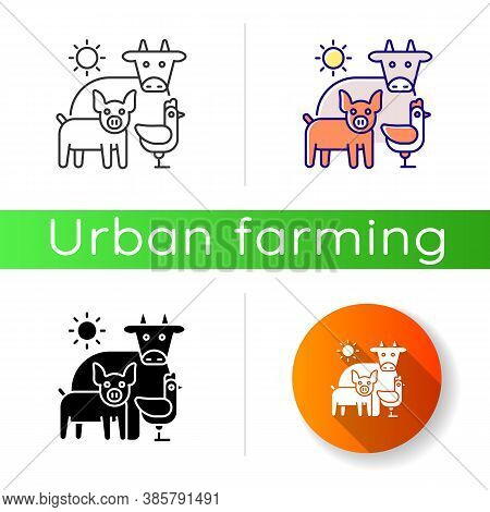 Animal Husbandry Icon. Farm Livestock. Breeding Cattle. Farmland Production. Pig And Chicken. Mammal