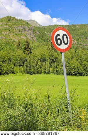 60S Zone 60 Road Sign Around Red, Norway.