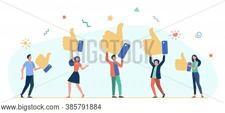 Tiny People Holding Thumbs Up Flat Vector Illustration. Cartoon Customers Or Clients Giving Support,