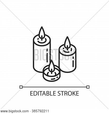 Candlelight Linear Icon. Atmosphere Changing. Hygge Element. Romantic Mood. Home Decoration. Thin Li