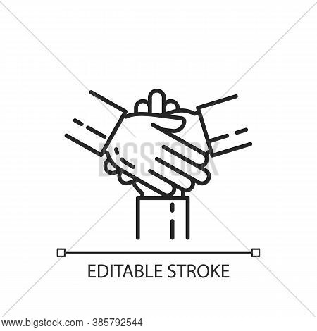 Friendly Cooperation Linear Icon. Welcoming Atmosphere. Unity, Partnership. Work In Group. Thin Line