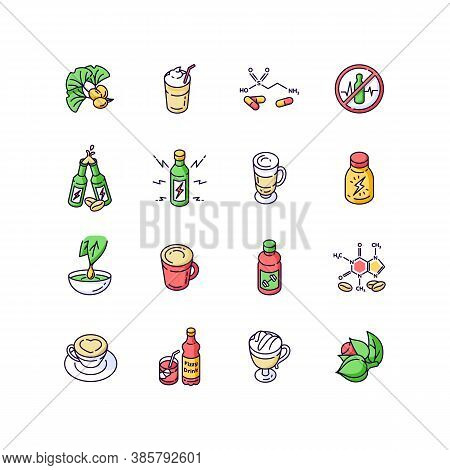 Energy Drinks And Caffeine Rgb Color Icons Set. Gingko Biloba. Scientific Formula Of Compound. Coffe
