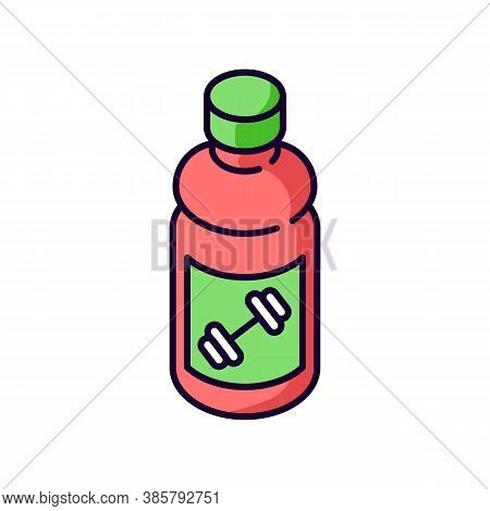 Sports Drink Rgb Color Icon. Bottled Protein. Beverage For Workout Energy. Product For Athlete Exerc