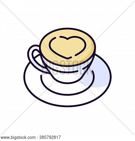 Cappuccino Rgb Color Icon. Coffee With Heart On Foam. Hot Drink In Mug. Beverage In Cup. Cafe Menu.