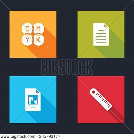 Set Cmyk Color Mixing, File Document, And Ruler Icon. Vector