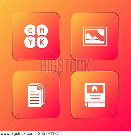 Set Cmyk Color Mixing, Picture Landscape, File Document And Photo Album Gallery Icon. Vector
