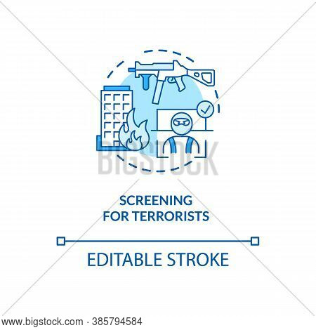 Screening For Terrorists Concept Icon. Surveillance Futuristic Security Center. Biometrics System Us