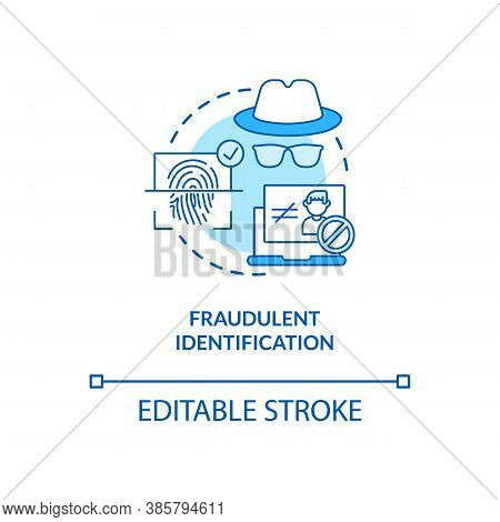 Fraudulent Identification Concept Icon. Fake Personality Finding Devices. Biometrics Using Ideas Ide